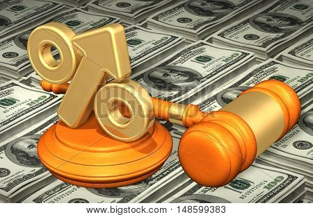 Percentage Arrow Legal Gavel Concept 3D Illustration