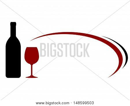 Decorative Background With Wine Bottle And Glass