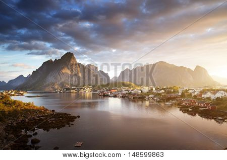 summer sunrise, Reine Village, Lofoten Islands, Norway