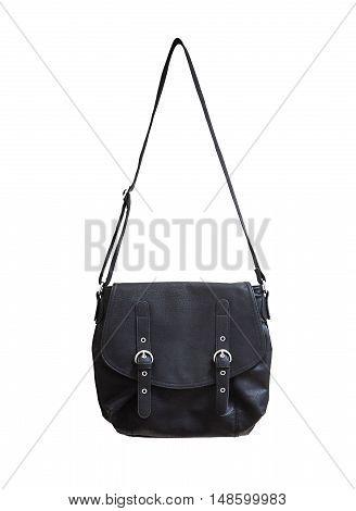 Black leather messenger bag on the white background.