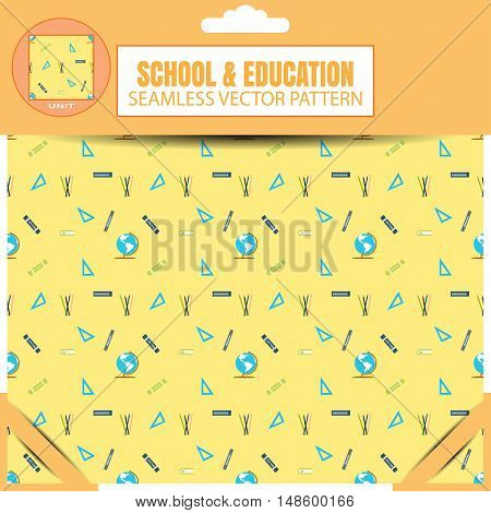 Vector package of seamless pattern of items for education on the yellow background.