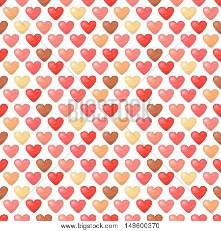 Cute shiny seamless heart pattern isolated on white background. Vector illustration for valentine design. Chic sweet feminine background invitation card. Lovely romantic decorative set