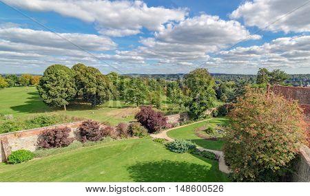The historic Farnham Park in Surrey captured from Farnham Castle