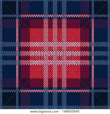 Seamless Pattern As A Knitted Fabric In Dark Blue And Red