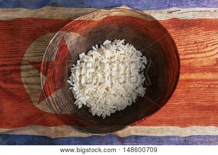 Poverty Concept, Bowl Of Rice With North Korea Flag