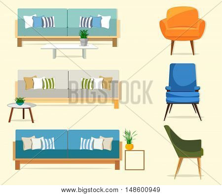 Furniture. Interior. Set of sofas with chairs.