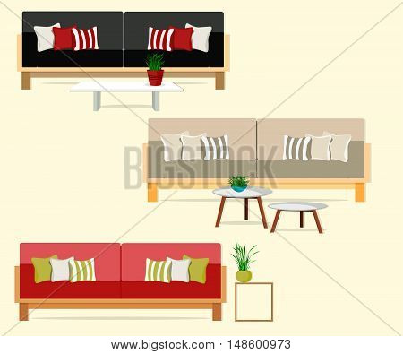 Furniture. Interior. Set of sofas with tables.