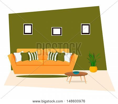 Furniture, Sofa with table on green background.
