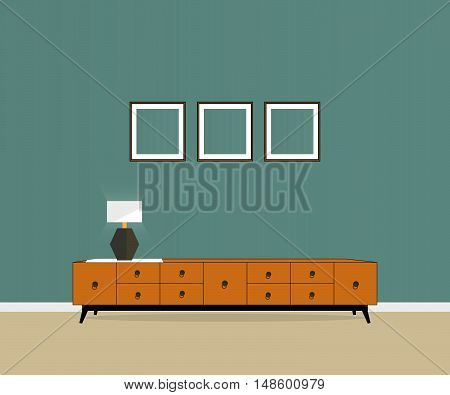 Furniture with nightstand and lamp. Furniture company.