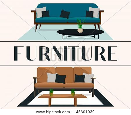 Furniture. Interior. Sofas with pillows and tables.