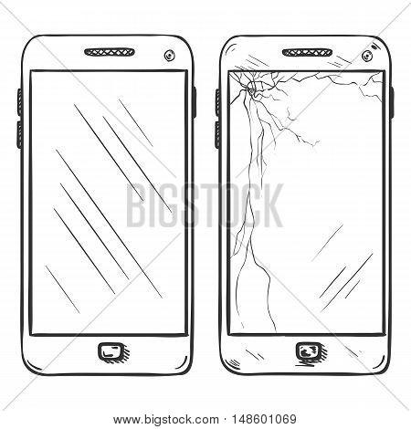 Vector Set Of Two Smartphones. New And Broken Ones.