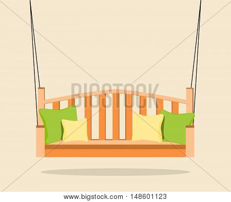 Interior. Furniture. Orange swing bench with pillows.