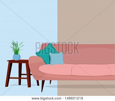 Furniture store. Living room. Interior. Sofa, table.