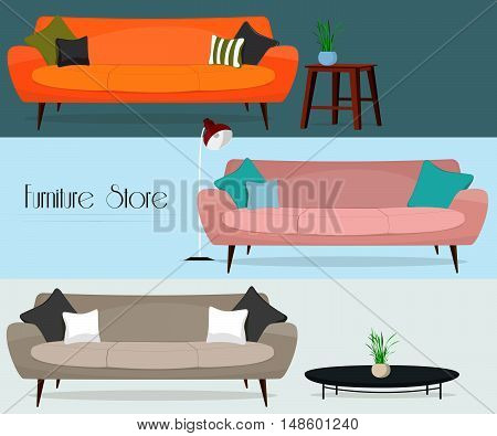 Furniture store. Set of sofas and tables.
