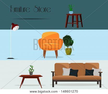 Furniture. Furniture store. Set of furniture. Interior