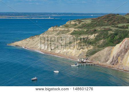 Alum Bay coastline on the Isle of Wight