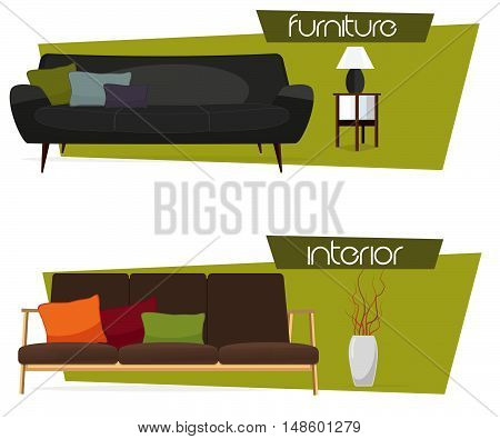 Furniture. Interior. Set of sofas with pillows.