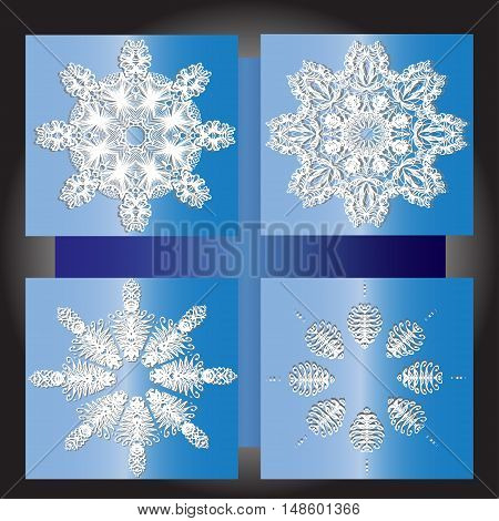 Snowflakes winter set vector design.Set of vector snowflakes in different shape