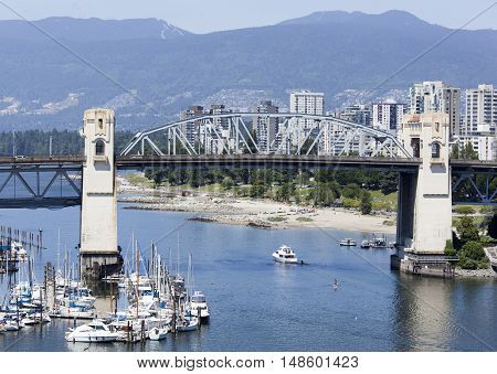 The view of Burrard Bridge over False Creek (Vancouver British Columbia).