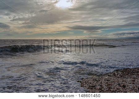 Setting sun at Grange Chine on then Isle of WIght