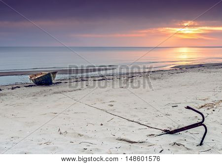View on the beach and facilities of collective fishing company, Gulf of Riga, Baltic Sea, Latvia