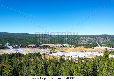 Wide Angle View Of Upper Geyser Basin