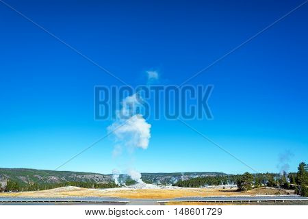 Wide Angle View Of Old Faithful