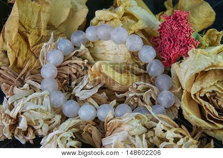 agate bracelet lying on a yellow rose