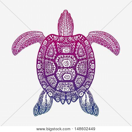 Decorative turtle with ornamental pattern. Vector tribal totem animal