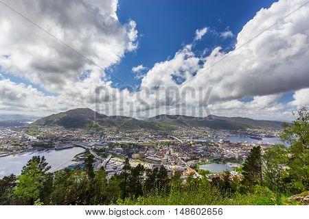 Beautiful view of Bergen city in Norway