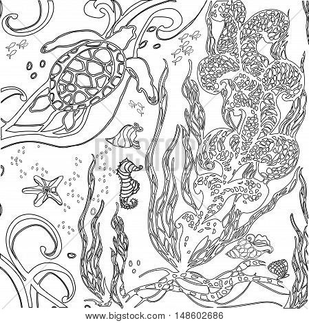 Vector illustration zentangle underwater world. Doodle sea ocean fairy story. Coloring book anti stress for adults. Black and white.