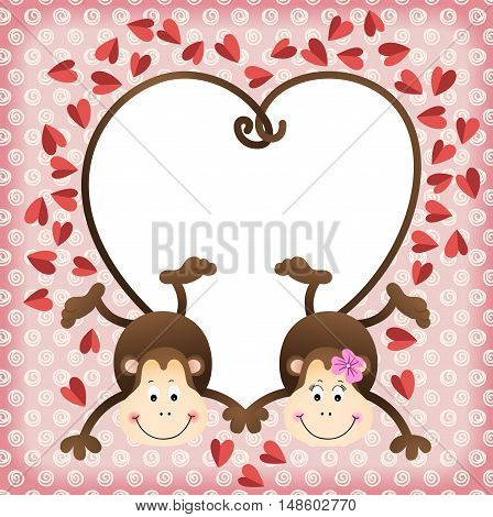 Scalable vectorial image representing a couple of monkeys shaped heart of tails scrapbook frame.