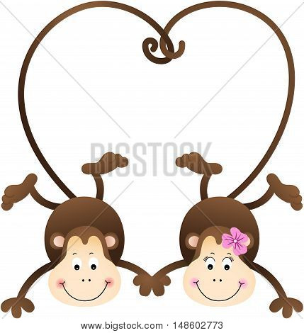 Scalable vectorial image representing a couple of cute monkeys shaped heart of tails, isolated on white.