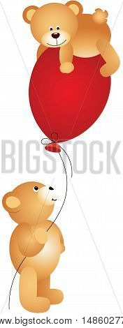 Scalable vectorial image representing a teddy bears playing with balloon, isolated on white.