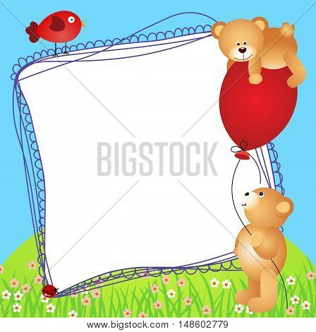 Scalable vectorial image representing a teddy bears with balloon scrapbook frame.