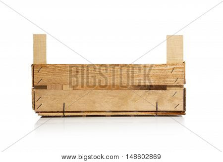 Empty wooden crate isolated on white. With clipping path