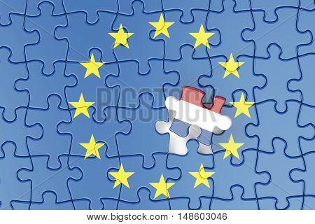 Netherlands and EU puzzles from flags relation concept. 3d rendering