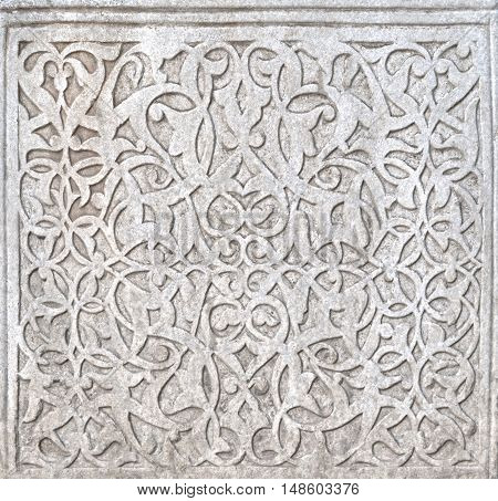 Fine plaster work mosaic in Khiva, Uzbekistan