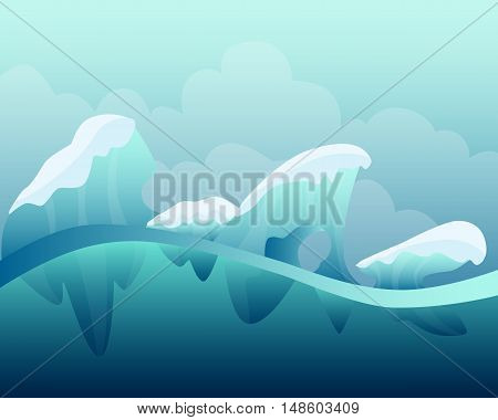 Arctic winter landscape. Game Design. Vector illustration