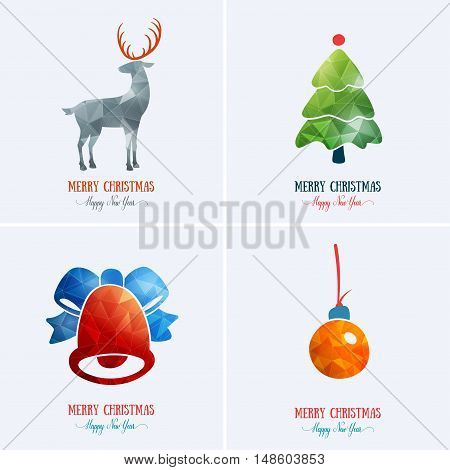 Merry Christmas card decoration. Happy New Year element design. Set of colourful vintage deer, Christmas tree, toy, bell with bow. Artwork set template for winter holiday sale.
