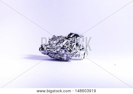 Aluminum Ball Crumpled Wrinkled Foil White Background Metal