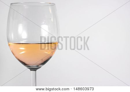 White Wine Glass Isolated White Background Abstract Alcohol Closeup