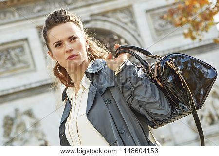 Trendy Woman In Paris, France Looking Into Distance