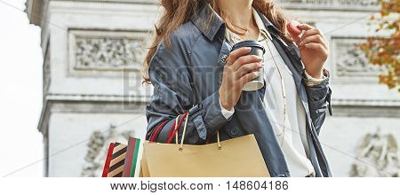 Fashion-monger With Shopping Bags Having Coffee And Macaroon