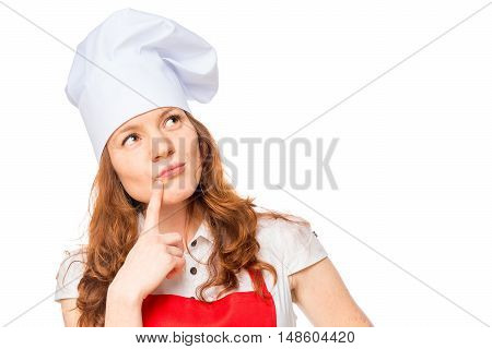 Thoughtful Woman Cook On A White Background