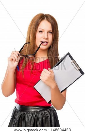 Young Brunette Holding Glasses And Folder Isolated