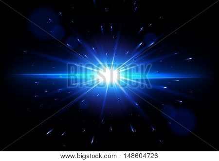 Blue Lens Flare, Vector glowing light effect, Star burst with sparkles