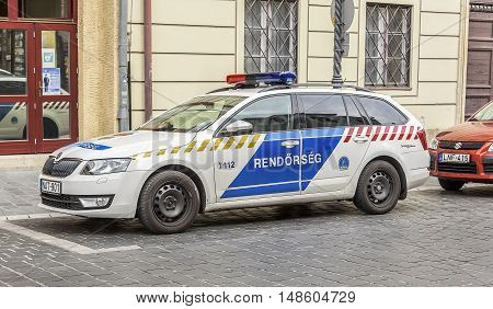 BUDAPEST, SEPTEMBER 18: Police car parked near the police station on September 18, 2016 in Budapest, Hungary.