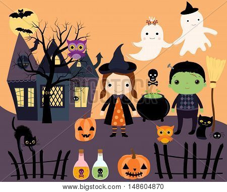 Halloween Kids in Costumes, Haunted House, Black cats, Ghosts