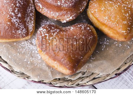 Closeup of a sweet heart shaped donuts